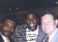 NBA Star Magic Johnson with Joe Dean, and Bill Bolton – autographed photo